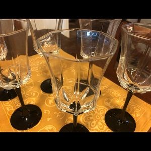 Luminarc FRANCE Black Wine Glass Water Goblets